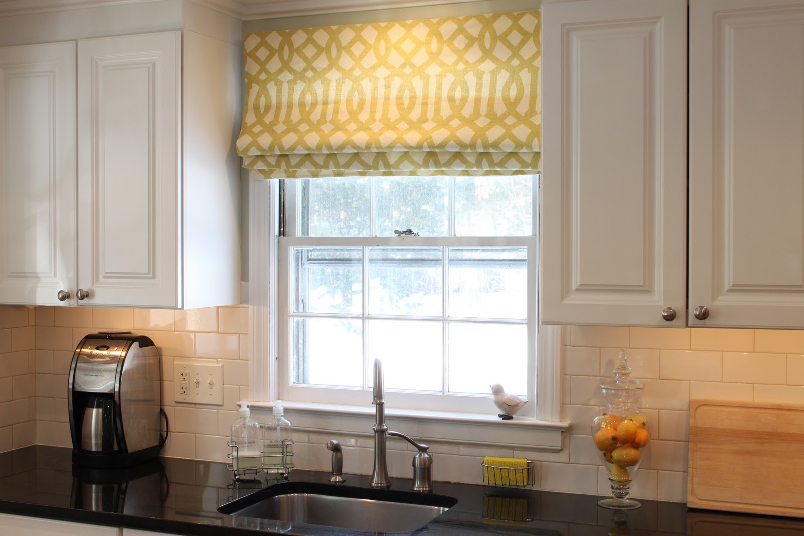 Gold Tone Outside Mount Roman Shades For Tile Wall Kitchen White Wooden Cabinets Sleek Black