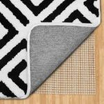 gorgeous black and white area rug design with geometrical pattern on simple best rug pad for hardwood floor