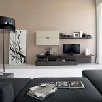gorgeous console for idea for tv stand beneath cream wall aside floor palette with open plan and great black floor lamp and black sofa with bed