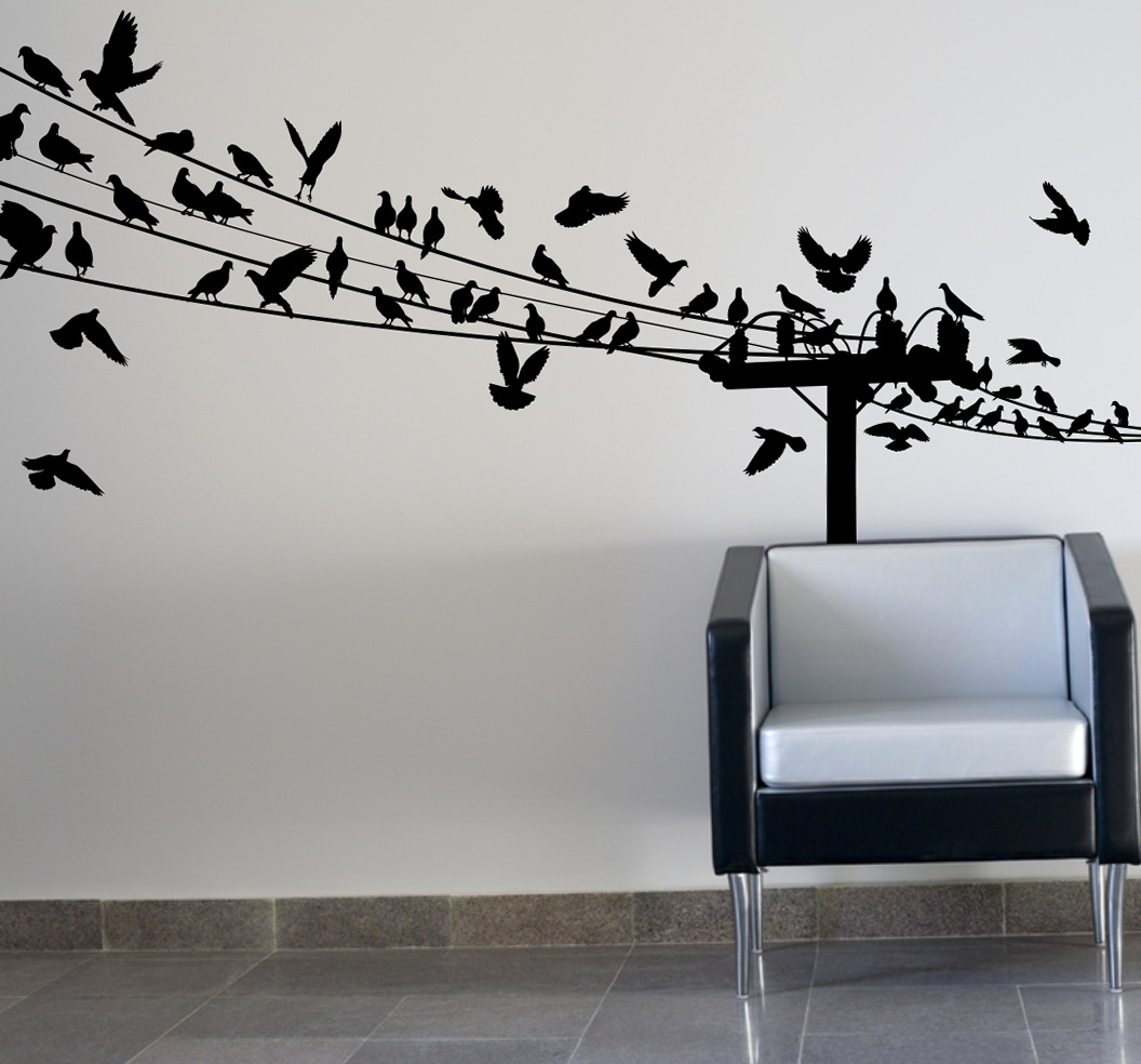 Birds On Wire Wall Art Optimize Every Inch Of Interior
