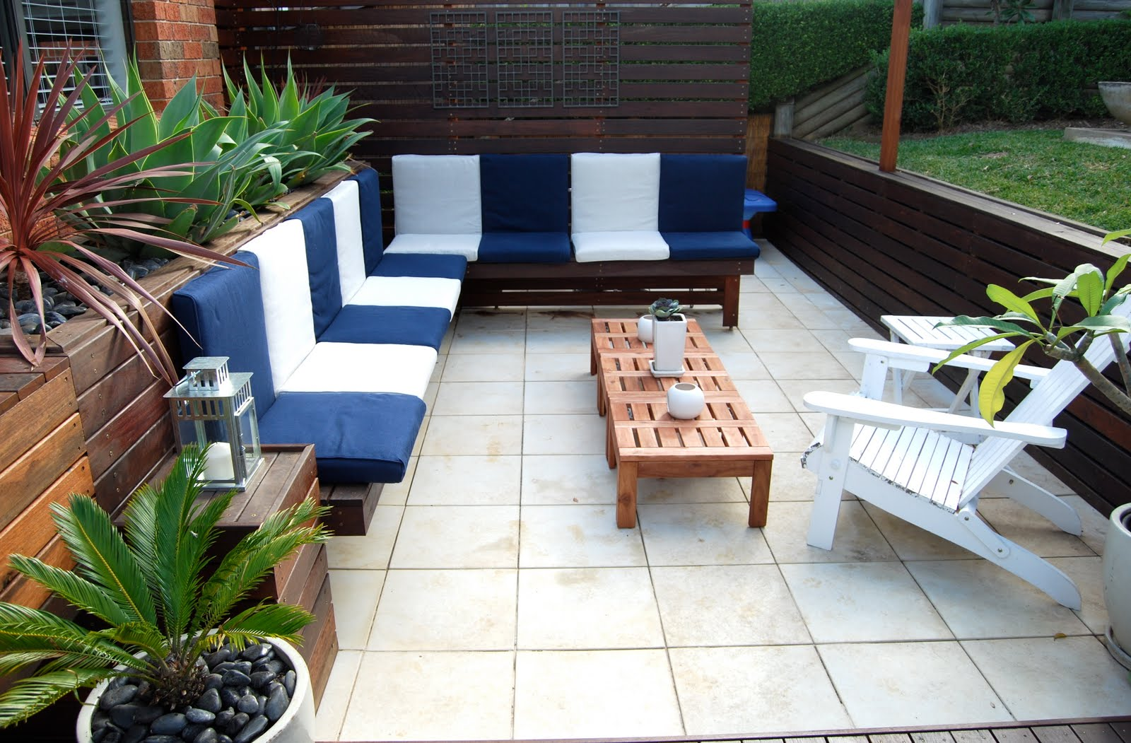 Gorgeous Ikea Lawn Furniture Idea On Dull White Flooring With Blue Sectional Seating And