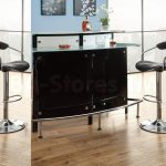 gorgeous modern glass bar table for home design with black leather stools on wooden floor with black storage with floor to ceiling glass window