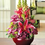 gorgeous purple tone unusual flower arrangement with purple flower