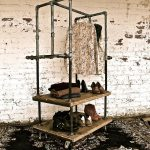 gorgeous rustic iron pipe furniture idea of vintage wardrobe storage with wooden board aside rustic brick wall on black patterned area rug