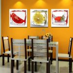 gorgeous strong yellow paint color for kitchen design with white dining table and brown white chairs and wall palette
