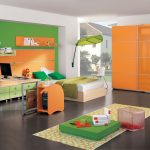 green orange color combinations unique bedroom orange wooden closet bold green pillows small size natural color bed unique leaf hanging lamp light natural green working table