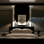 Grey Cellular Blackout Blinds For Bedroom Black White Bedroom Abstract Wall Painting White Window Frames White Cushions And Bedsheet