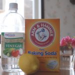 homemade natural vinegar baking soda cleanser spray get rid of pet odor fresh lemon decorative pink flower
