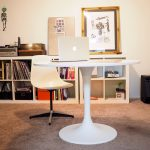 ikea tulip table decorating ideas for home office decorated with white office chair and rug plus wooden book case plus pictures on wall decoration
