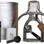 industrial stainless steel hand espresso maker with double pumps and filter and coffee storage