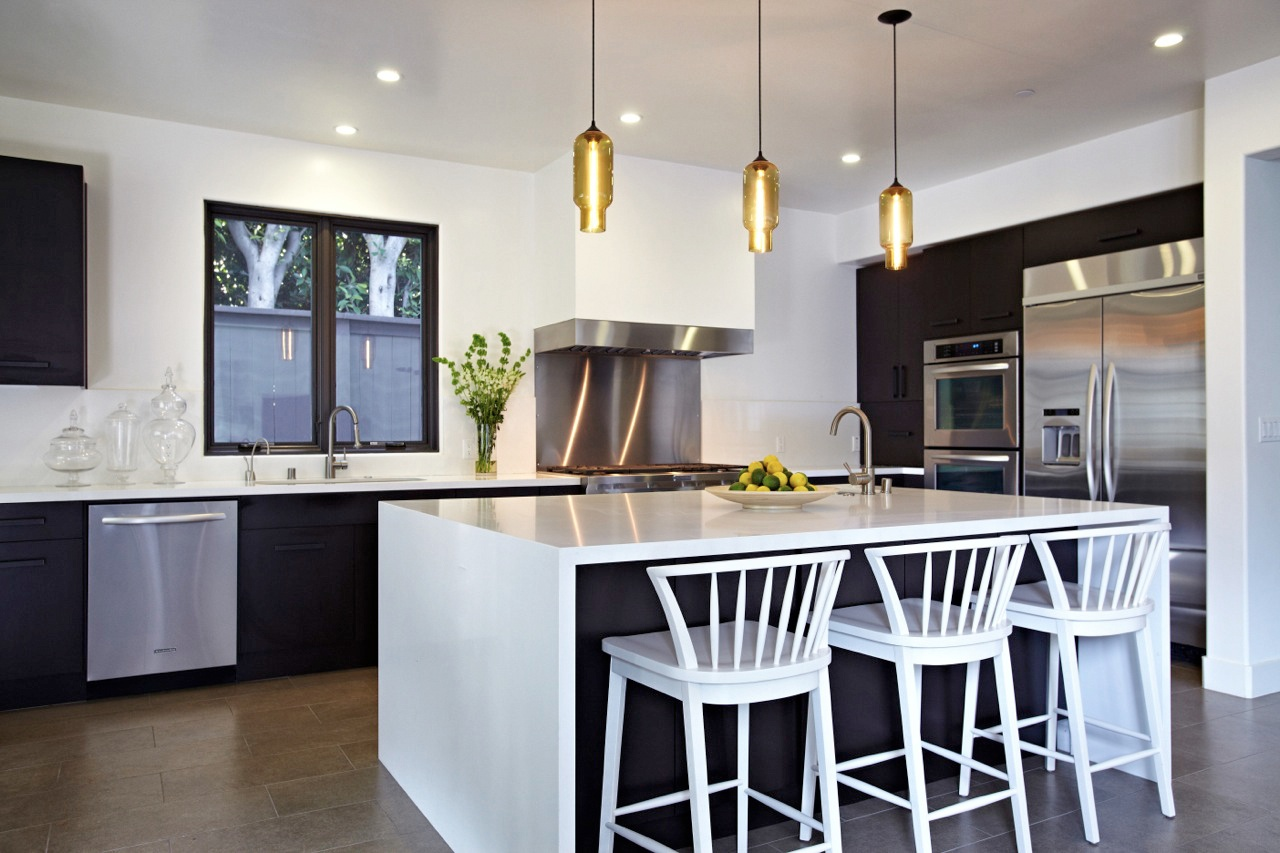 Inspiring Kitchen Ideas With White Wood Bar Stools Decorated In The Island Plus Golden Pendant