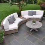 kingsley bate sag harbor curved sectional with grey cushion and round wooden coffee table for enjoyable patio ideas