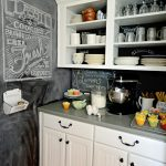 kitchen blackboard shelf cabinet plates glass