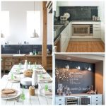 kitchen blackboard table long plates