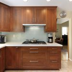 kitchen wood set lamps stove pan cabinets floor ceiling wall