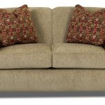 klaussner twin size sleeper sofa in light brown made of comfy fabrics plus red cushions and comfy back and arms