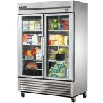 large and movable glass door refrigerator residential with double doors and eight racks and wheels