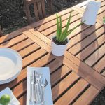 lawn furniture plates fork spoon knife glass wood table chairs