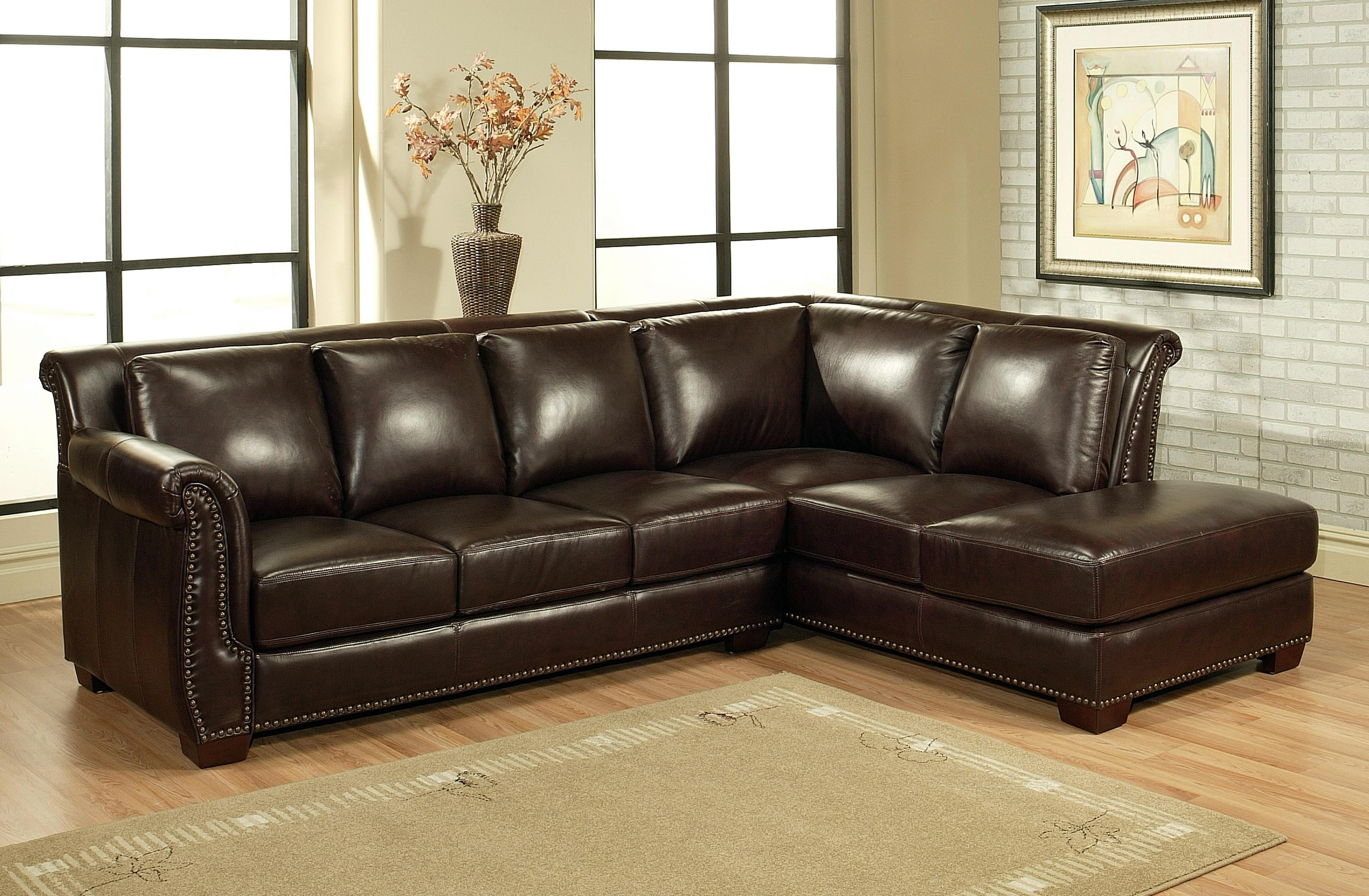 Distressed Leather Sectional - HomesFeed