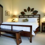 long natural woden benches for end of bed for simple natural soft bedroom matching wooden bed frame and gorgeous leaves wooden decoration wall