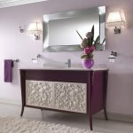 lovable purple vintage ikea bath cabinet design with white carved surface on white runner rug with framed wall mirror and wall lamps