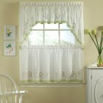 lovely half window curtains with window valance and green floral accent plus vintage chair and wooden sideboard plus calm wall paint