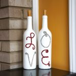 lovely white wine bottle decorating ideas with love spelling on bathed in white tone on glossy countertop aside yellow wall with brick waccent