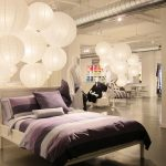 luxurious bedding set by sunham home fashion with purple black and white color combination and unique pendant chandelier