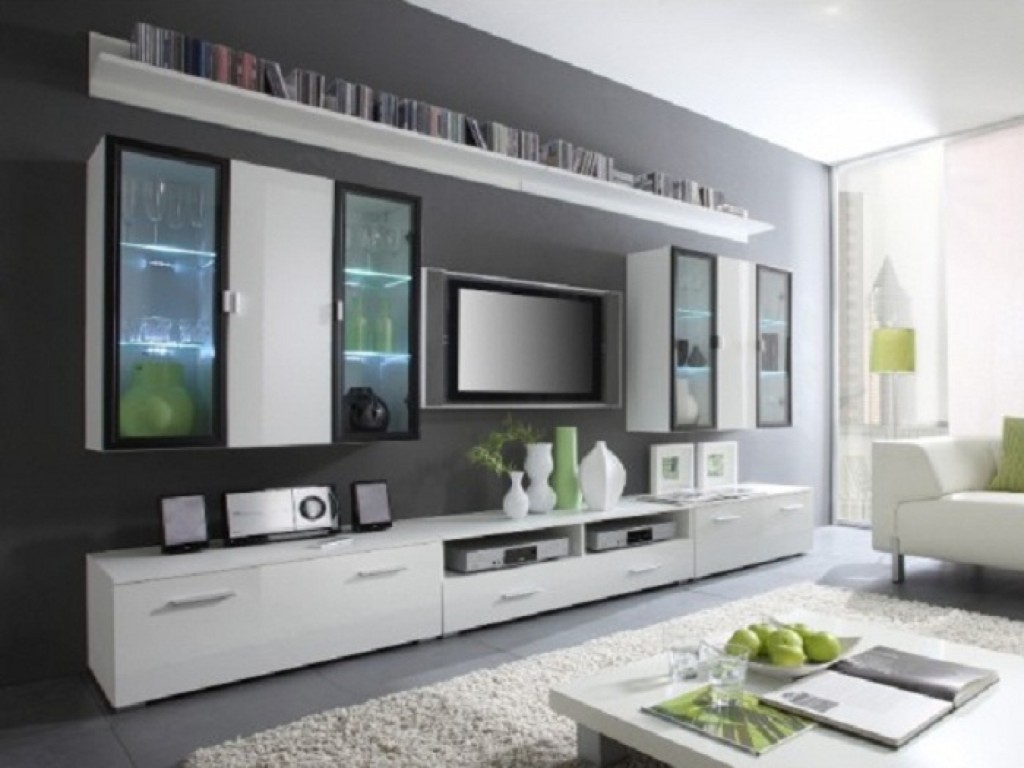 Luxurious Flat Screen Tv Wall Cabinet In White Wood Scheme Decorated With Shelf And Media Storage