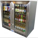 luxurious glass front refrigerator for home  design with double doors and gray package