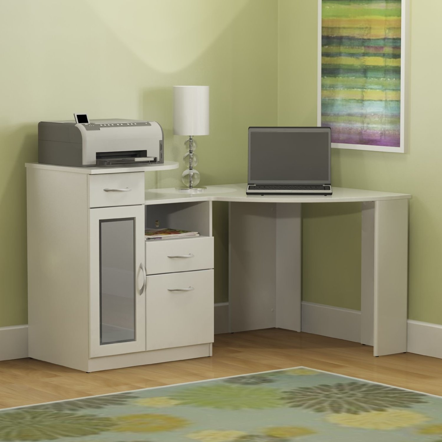 Luxurious White Computer Desk With Printer Storage And Sheleves For Files Stationary Soft Green Wall