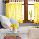 mesmerizing  yellow half window curtains decorated in the bedroom with comfy white bedding and pillow plus hand woven table