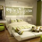 minimalist modern bed benches simple modern two tones bedroom white lime green cushions and bedsheet strip table lamp two tones carpet lime green round chairs flower motive hanging lamp