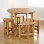 minimalist space saver dining set for minimalist dining room with wooden round table with wooden chairs surrounding