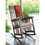 mission style wooden rocking chair design with armrest feature