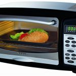 modern and stylish toaster oven idea in black tone with transparent door and chrome body