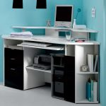 modern black and white Techni Mobili desk with printer storage with many shelves for books CPU office stationary files table clock