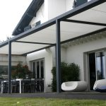 modern black and white metal backyard patio covers white sophisticated relaxing chairs casual open space meeting room living plants black and white home design