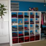 modern blue closet organizer for small closet idea with structural racks and clothes hanger and pendant lamp and potted plant and white door