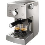 modern designed coffee maker brand idea in white tone with boxy style with white handle and two glasses