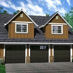 modern garage plan with living space above green flower yard