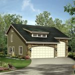 modern garage with up stair living space plan with beautiful flower garden