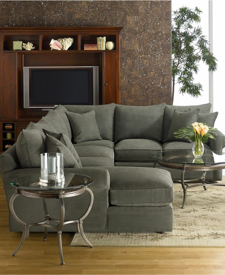 Modern Grey 2 Piece Sectional Sofa With Chaise Cushions Decorated Gl Top Round Coffee