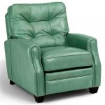 modern high end recliners in turquoise color with tufted back and comfy arm plus black short legs