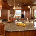 modern kitchen ideas with wood vent hood and wooden kitchen cabinate with granite countertop plus pendant lighting and kitchen island
