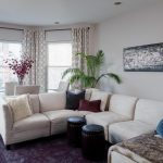 modern living room ideas with white patterned curtains plus blind installed on bay windows together with sectional sofa and red rug