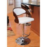 modern metal kitchen counter stool with back polished wood back white foam seat pad