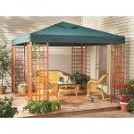 modern no walls wood gazebo kits with green fabric roof and wicker outdoor furniture