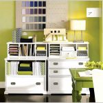 modern white wooden decorative file cabinets with lime green room tone unique wall clock white table lamp wooden floor lime green wall and table