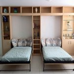 murphy bed wood piilows table chair